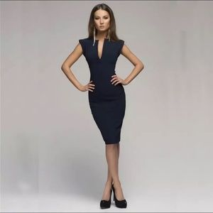 Dresses & Skirts - Elegant V Neck Dark Blue Midi Dress